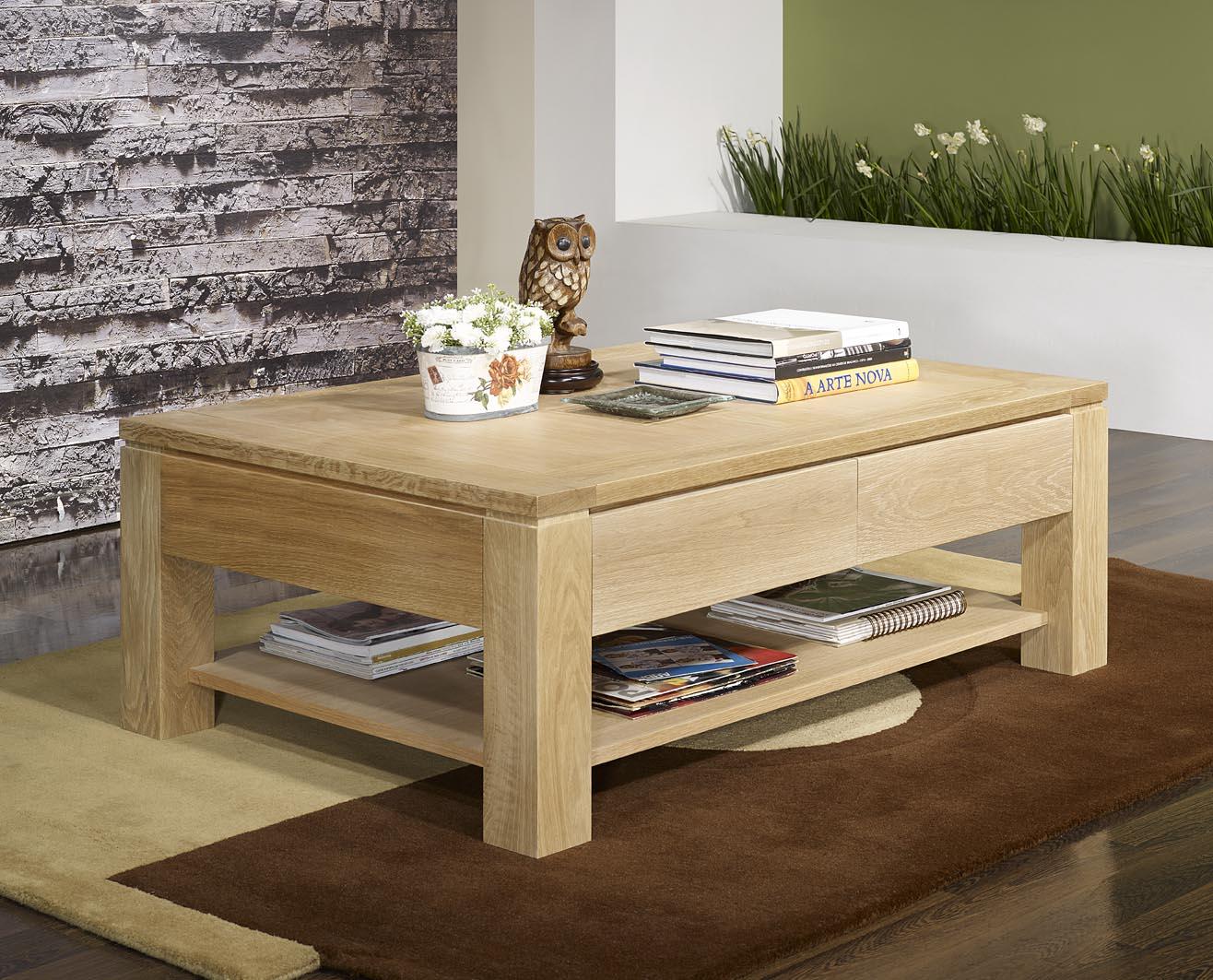 Table basse en ch ne massif ligne contemporaine finition - Table largeur 60 cm ...
