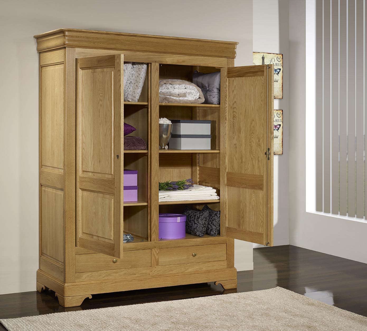 Armoire 2 portes 2 tiroirs en ch ne massif de style louis philippe meuble e - Armoire chene massif 2 portes ...