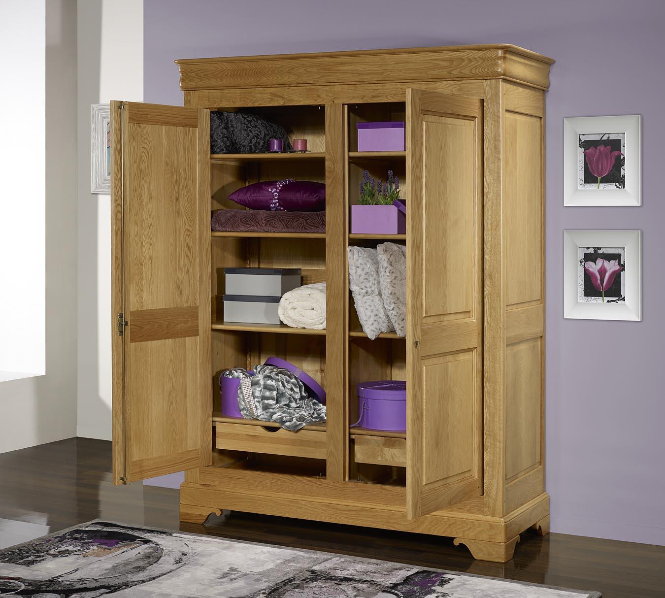 armoire 2 portes en ch ne massif de style louis philippe meuble en ch ne. Black Bedroom Furniture Sets. Home Design Ideas