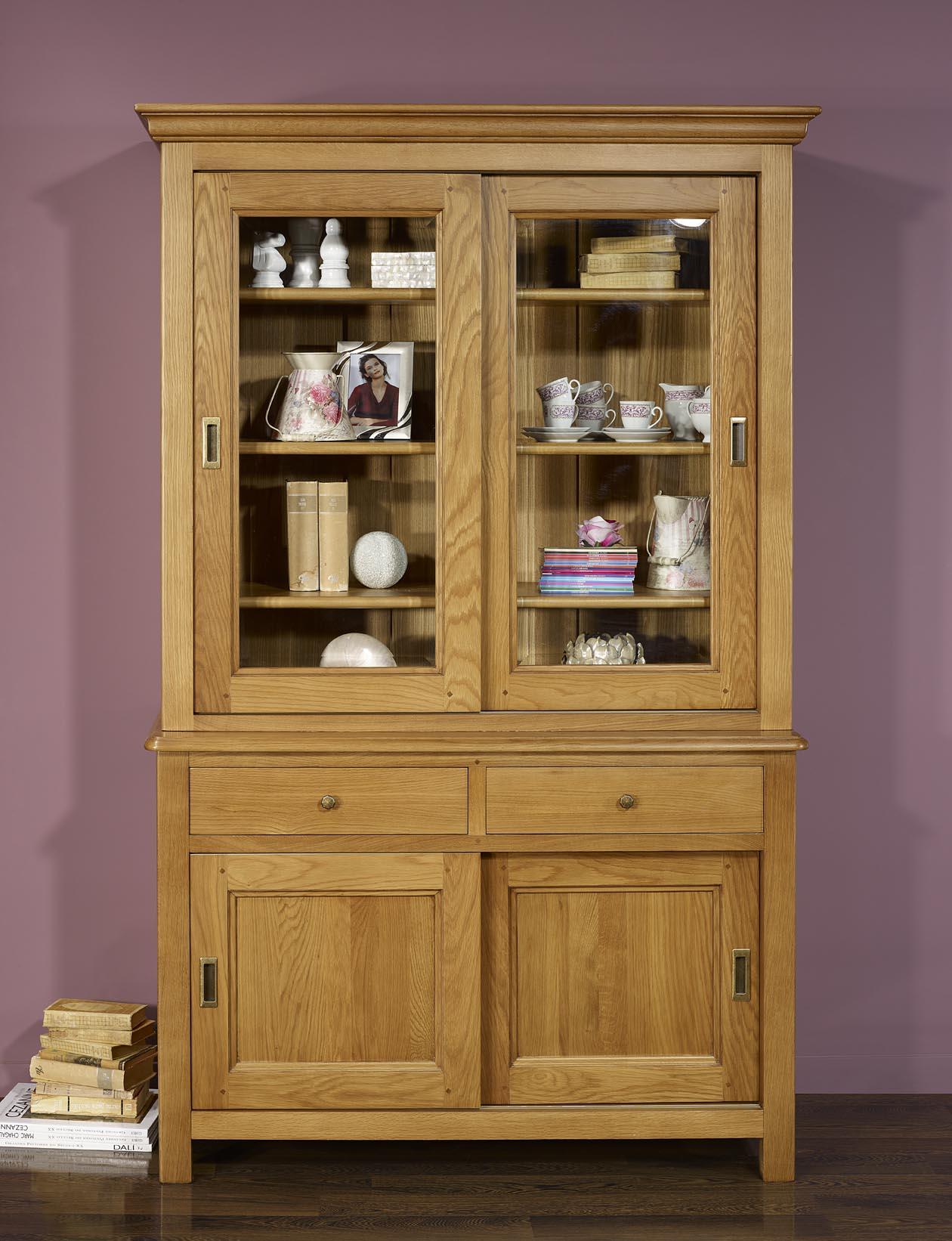 petit biblioth que henry 2 corps 2 portes en ch ne massif portes coulissantes meuble en ch ne. Black Bedroom Furniture Sets. Home Design Ideas