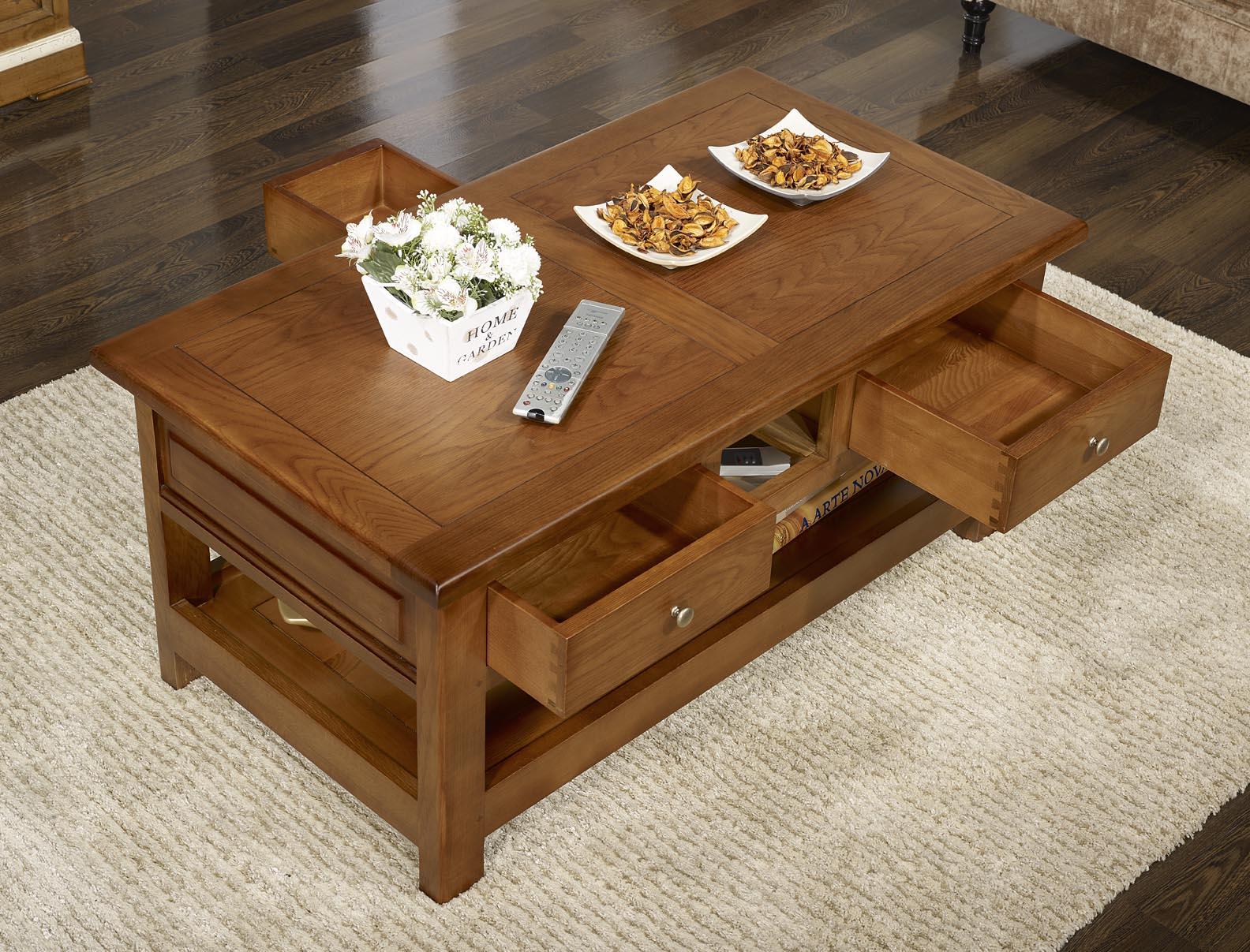 Table basse rectangulaire baptiste en ch ne de style - Table basse louis philippe ...
