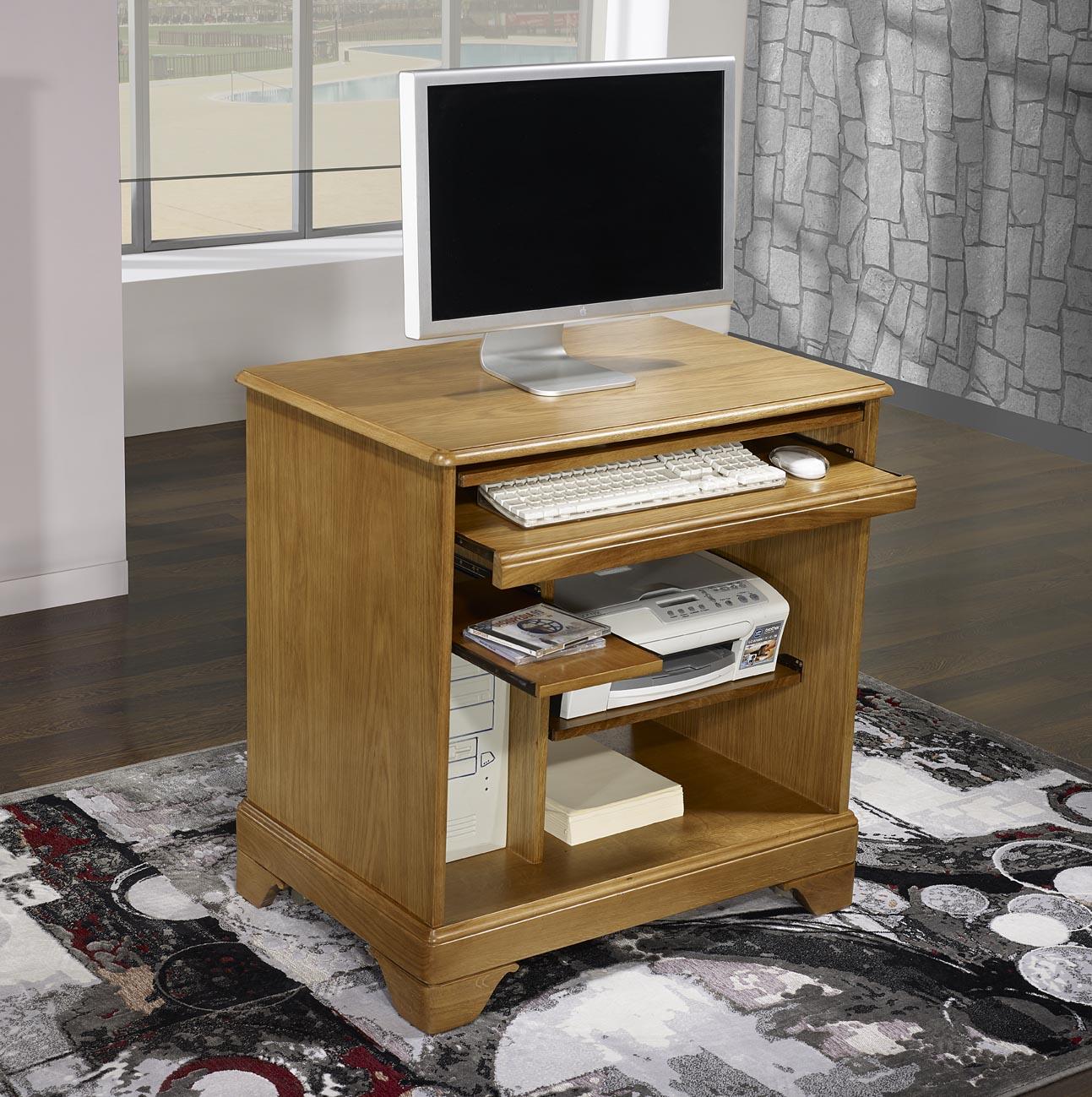 Petit bureau informatique en ch ne de style louis philippe - Petit meuble d ordinateur ...
