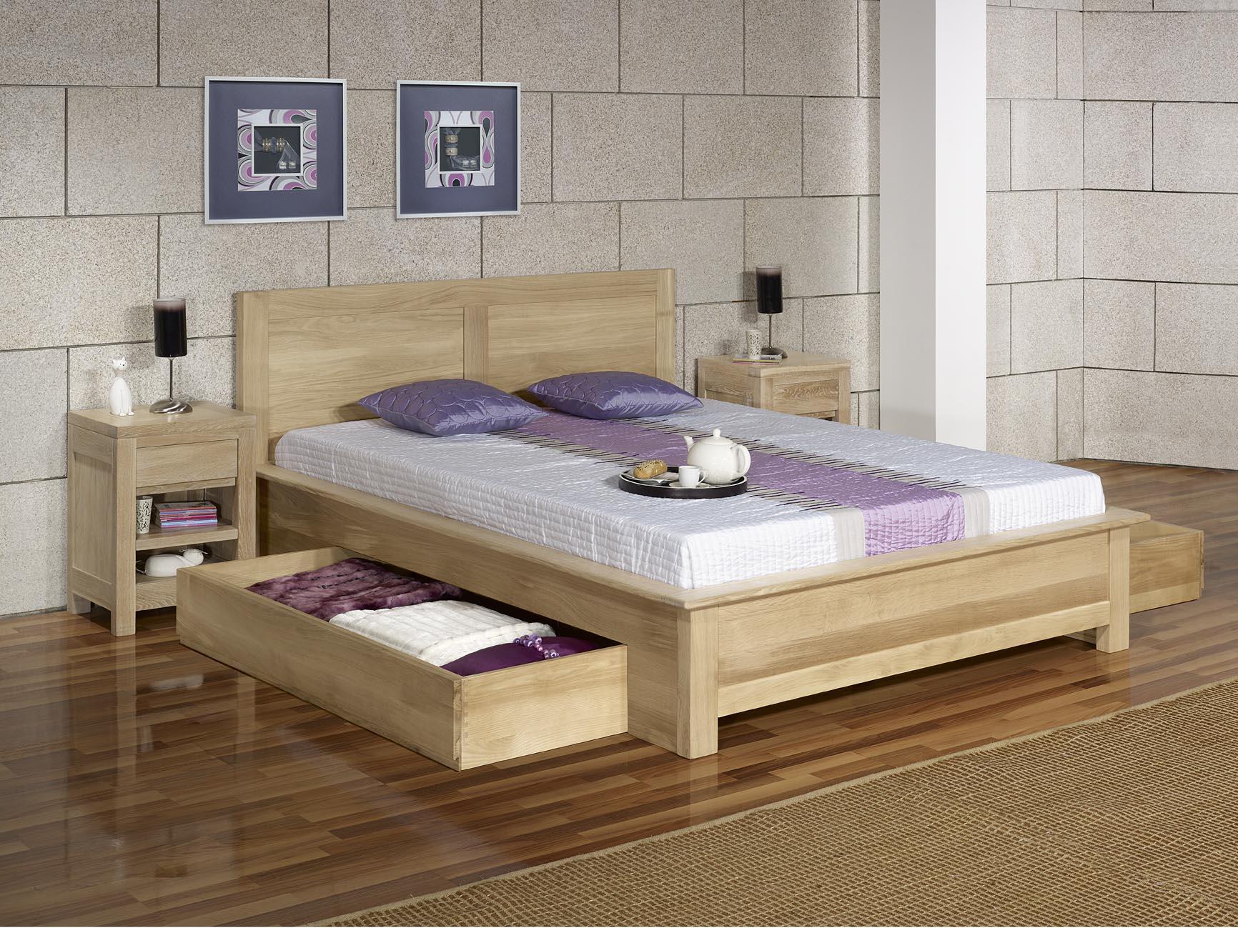 lit collection nature 140 190 en ch ne massif avec tiroirs. Black Bedroom Furniture Sets. Home Design Ideas
