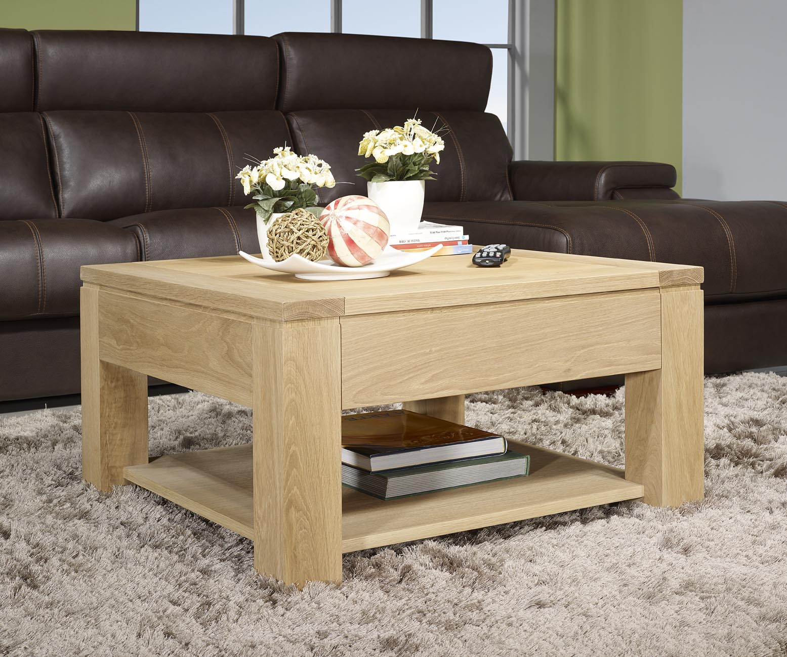 Table basse en ch ne massif ligne contemporaine finition - Table carree chene clair ...