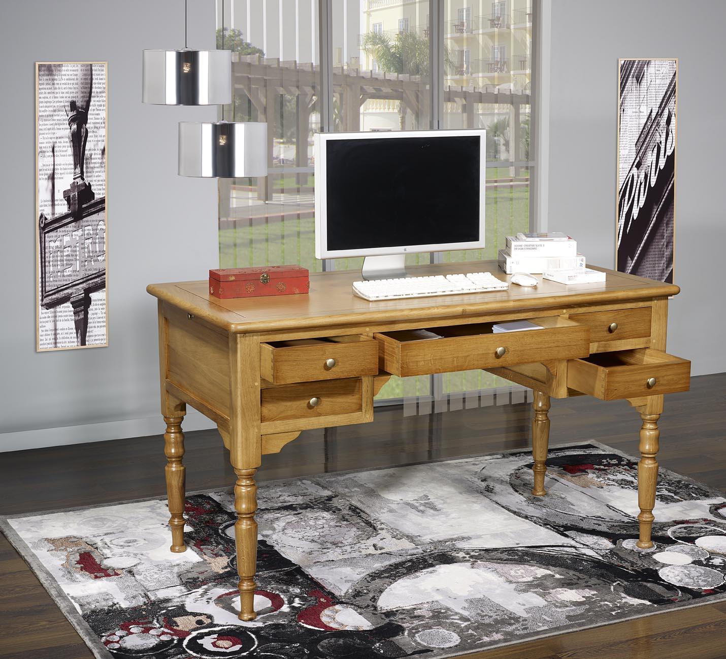 bureau ministre 5 tiroirs en merisier massif de style louis philippe pieds sabres meuble en. Black Bedroom Furniture Sets. Home Design Ideas