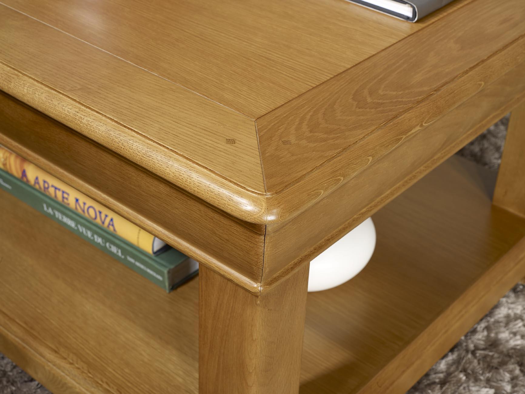table basse carr e 80x80 en ch ne de style louis philippe meuble en ch ne. Black Bedroom Furniture Sets. Home Design Ideas