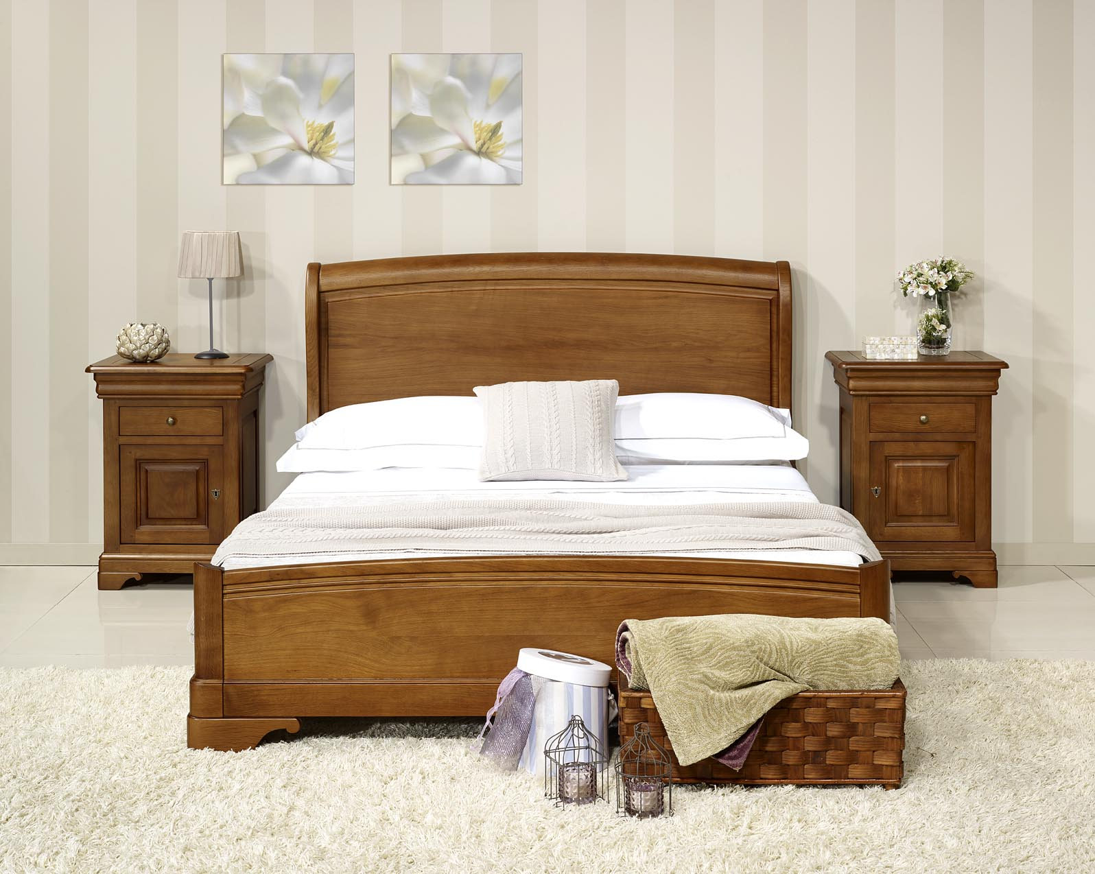lit baptiste 140x190 en ch ne massif de style louis philippe finition ch ne moyen meuble en ch ne. Black Bedroom Furniture Sets. Home Design Ideas