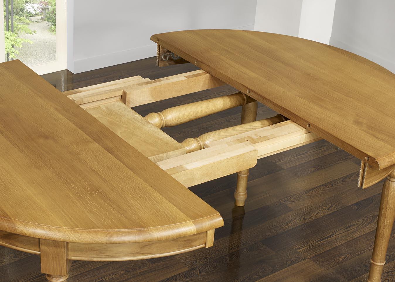95124ca8cd7475 ... Table ronde réalisée en Chêne Massif de style Louis Philippe DIAM.120 -  3 allonges ...