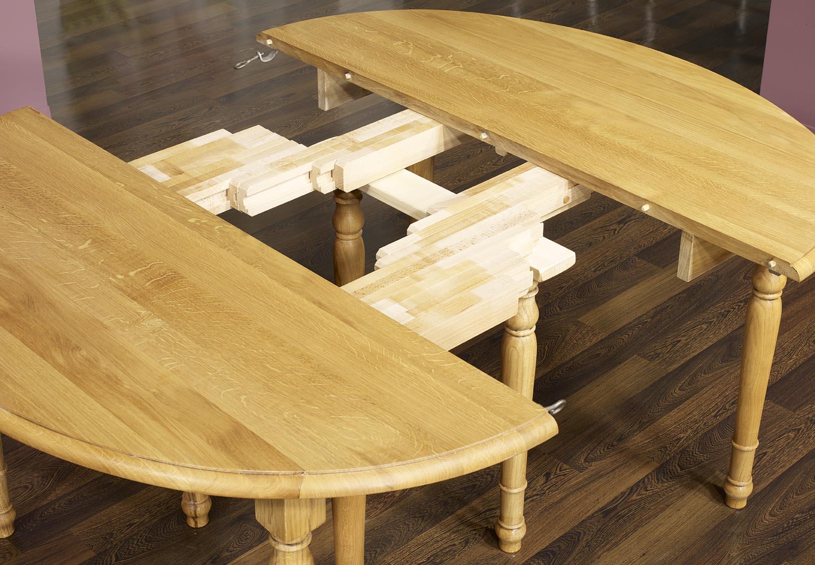 Table ovale volets 135x110 en ch ne massif de style for Table ronde bois massif avec rallonge