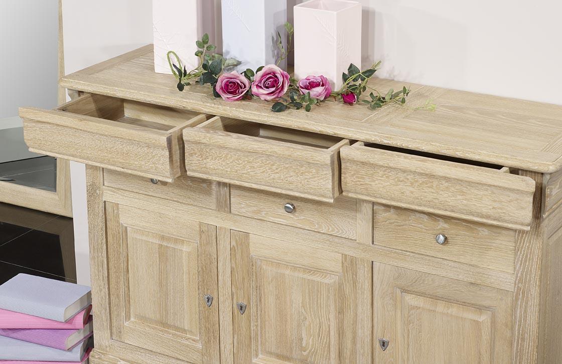 buffet 3 portes 6 tiroirs en ch ne massif de style louis philippe finition ch ne bross meuble. Black Bedroom Furniture Sets. Home Design Ideas