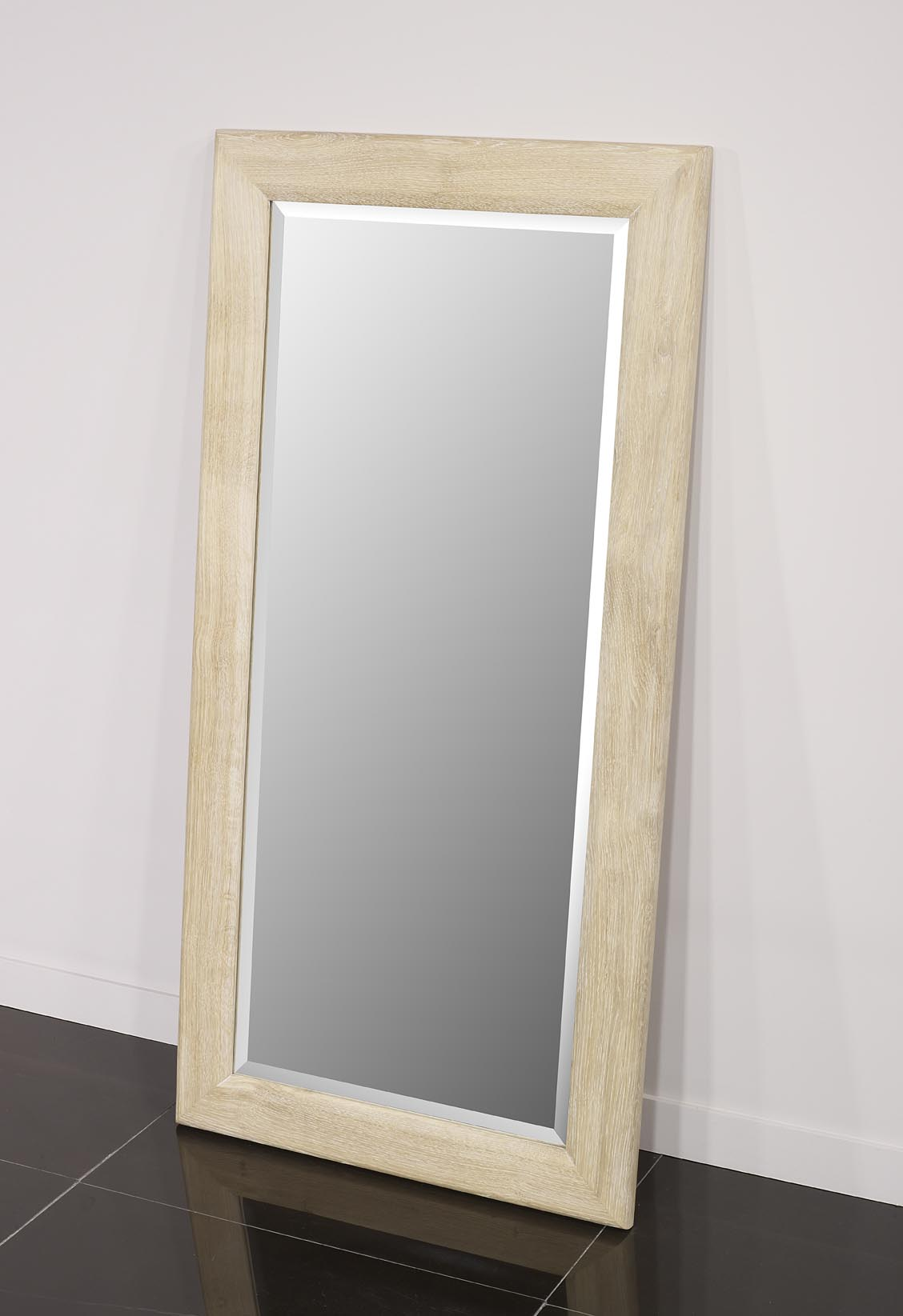 Miroir glace biseaut e 120x60 en ch ne massif meuble en for Glace miroir