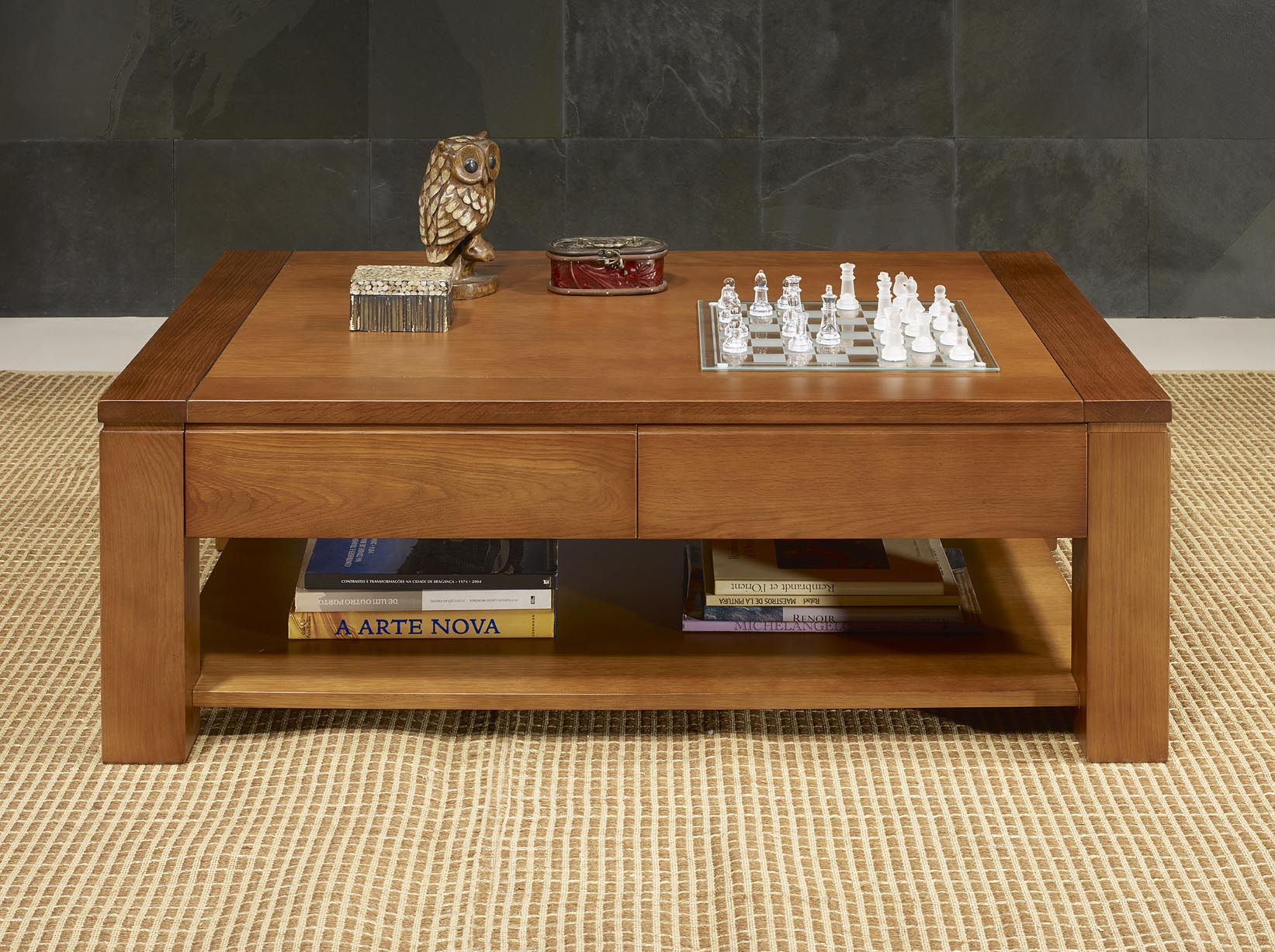 Table basse en ch ne massif ligne contemporaine finition cir e meuble en ch ne - Table basse en chene ...