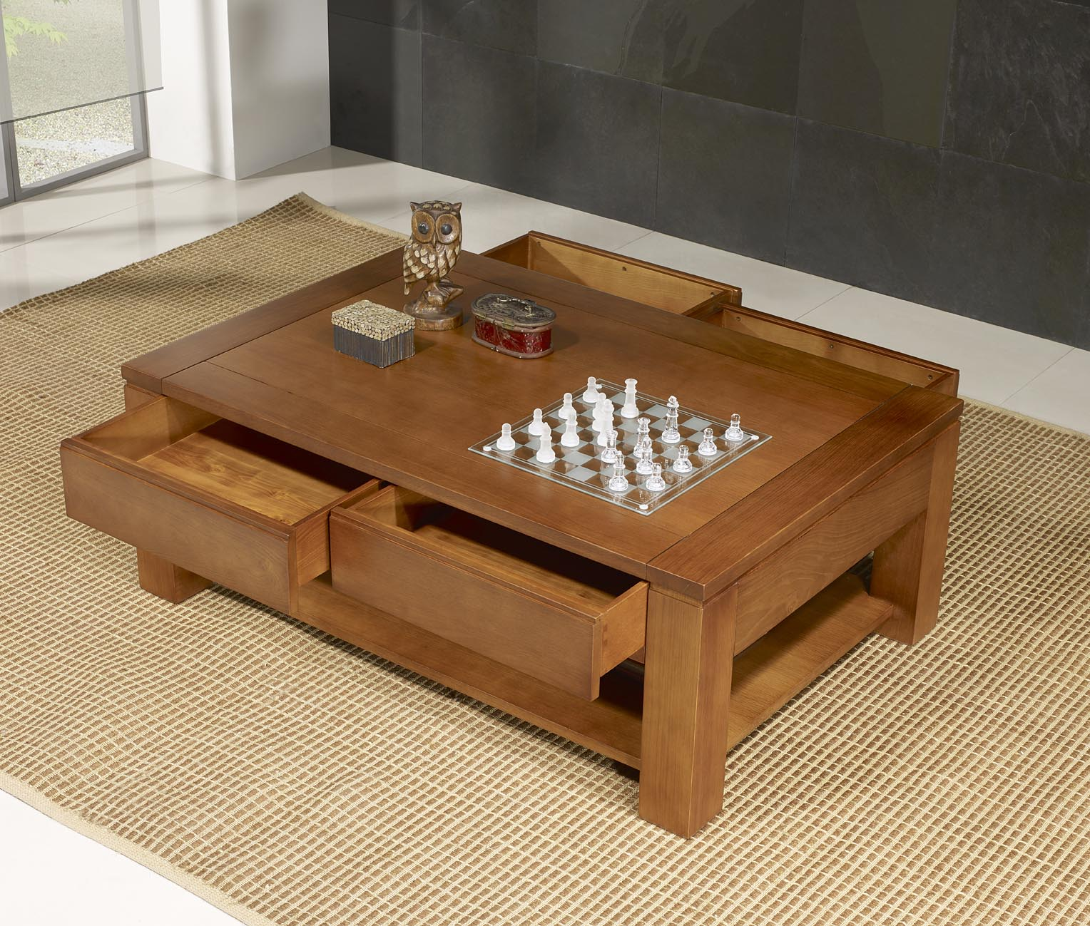 Table basse en ch ne massif ligne contemporaine longueur - Table basse contemporaine bois ...