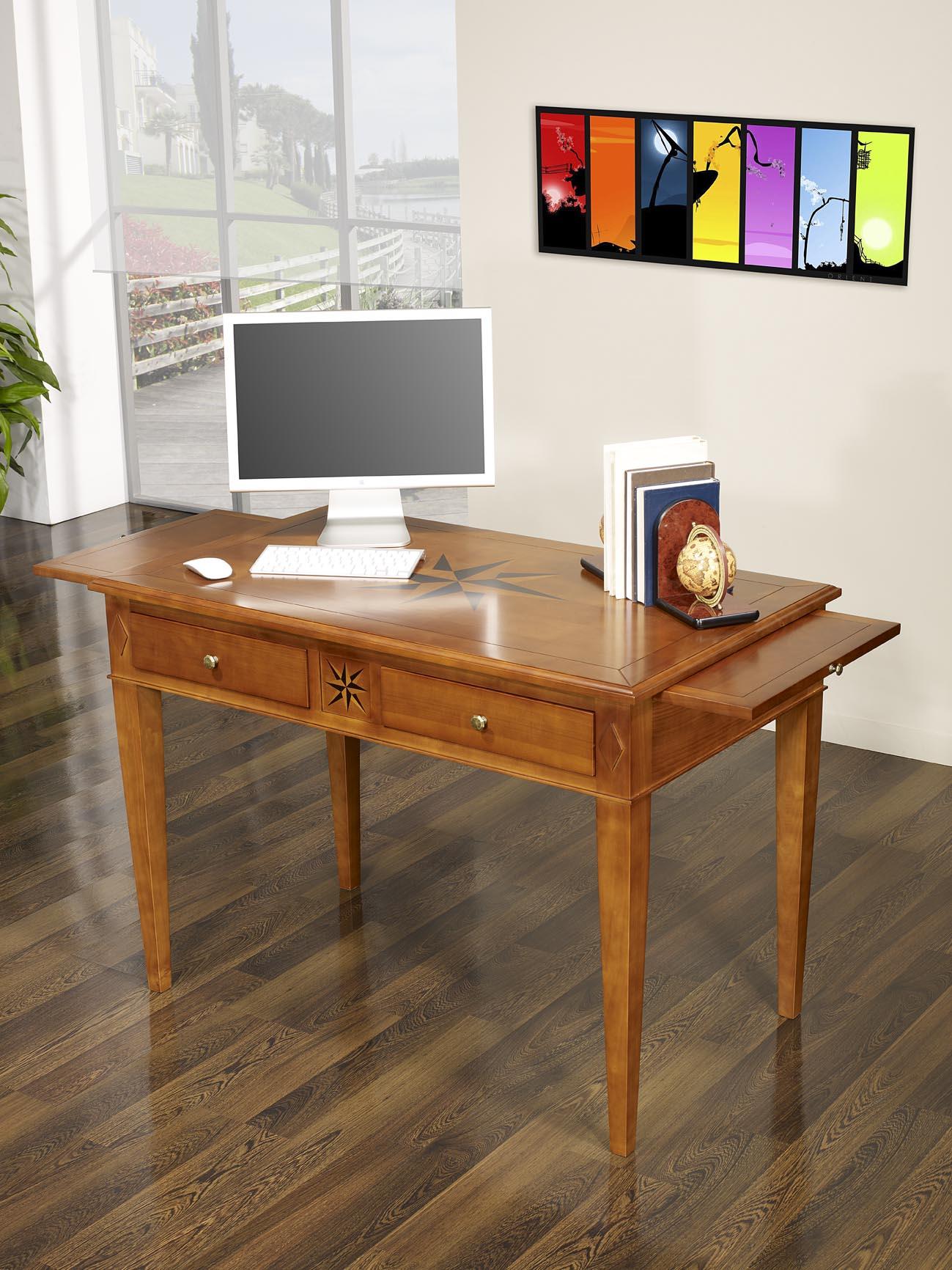 Table d\'écriture 2 tiroirs ROSE DES VENTS en Chêne de style ...