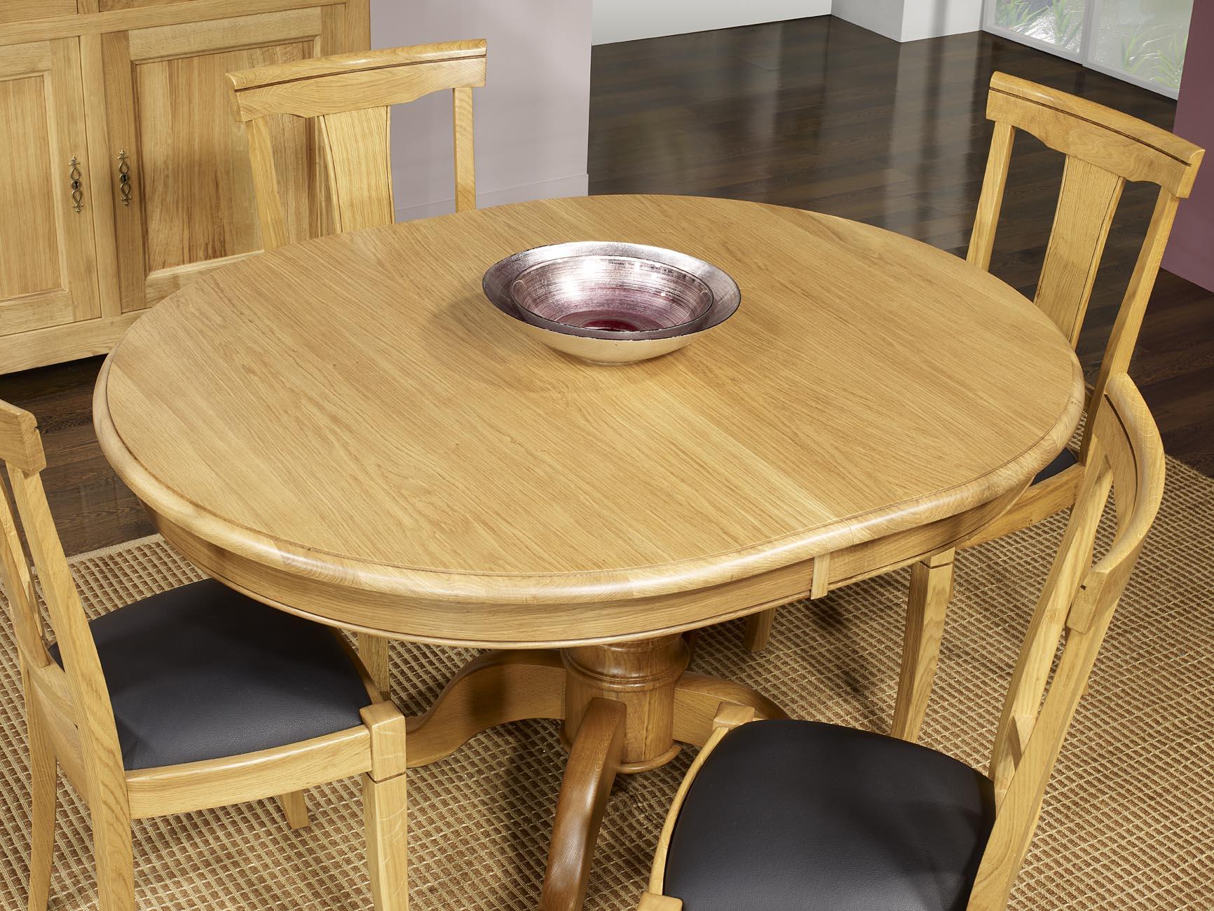 Table ovale pied central j r me en ch ne massif de style - Table ovale pied central design ...