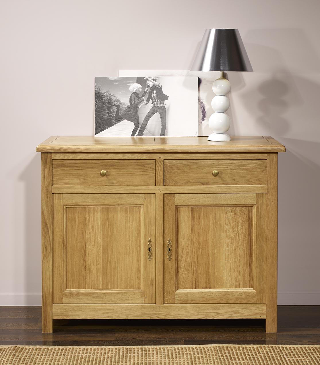buffet 2 portes 2 tiroirs en ch ne massif de style campagnard meuble en ch ne. Black Bedroom Furniture Sets. Home Design Ideas