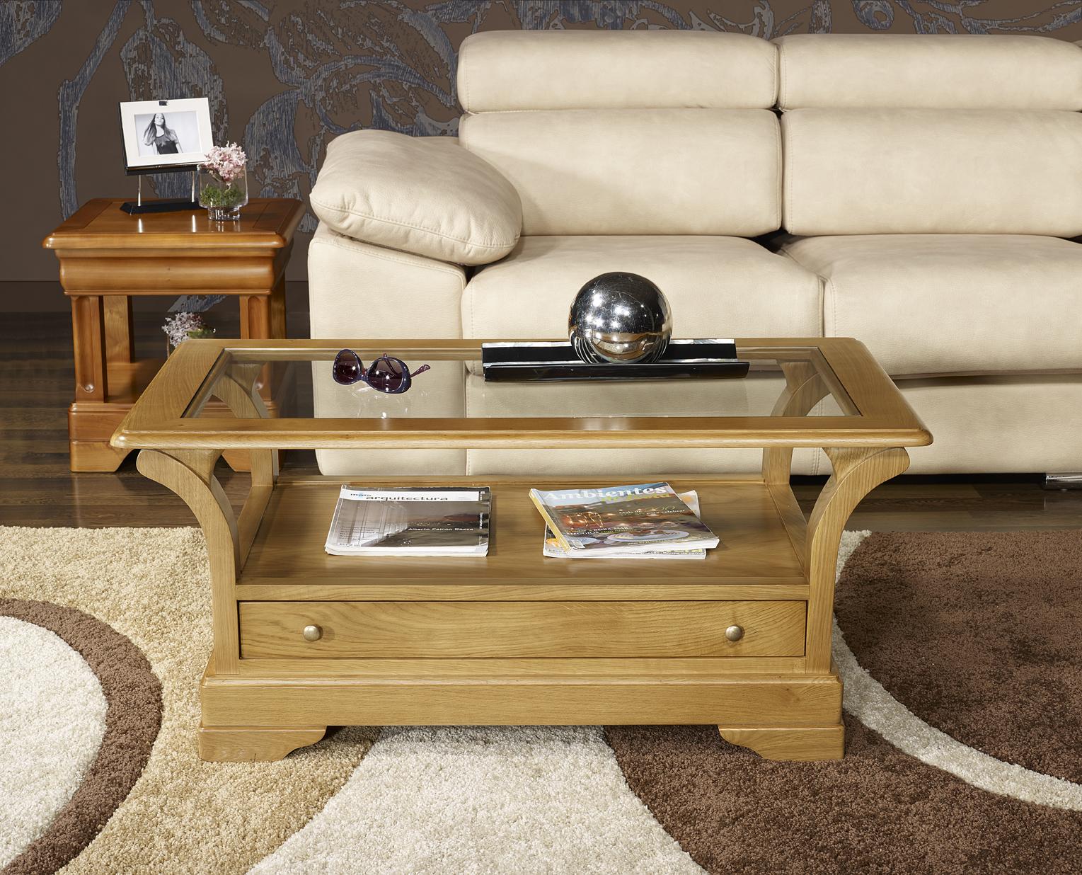 Table basse raphael en ch ne massif de style louis philippe plateau bois 1 tiroir de chaque - Table basse louis philippe ...