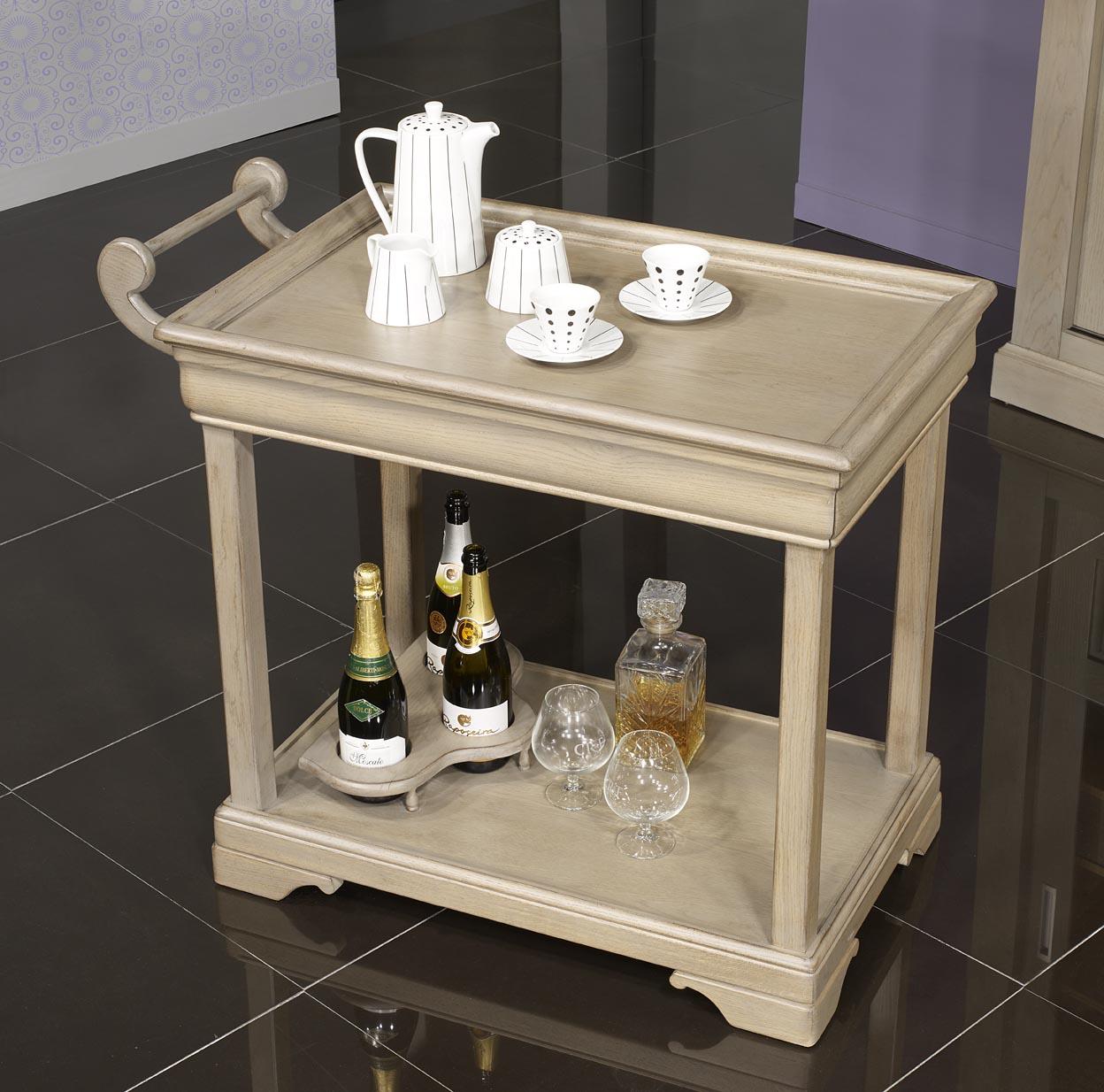 Table desserte roulante en ch ne de style louis philippe - Table desserte roulante ...