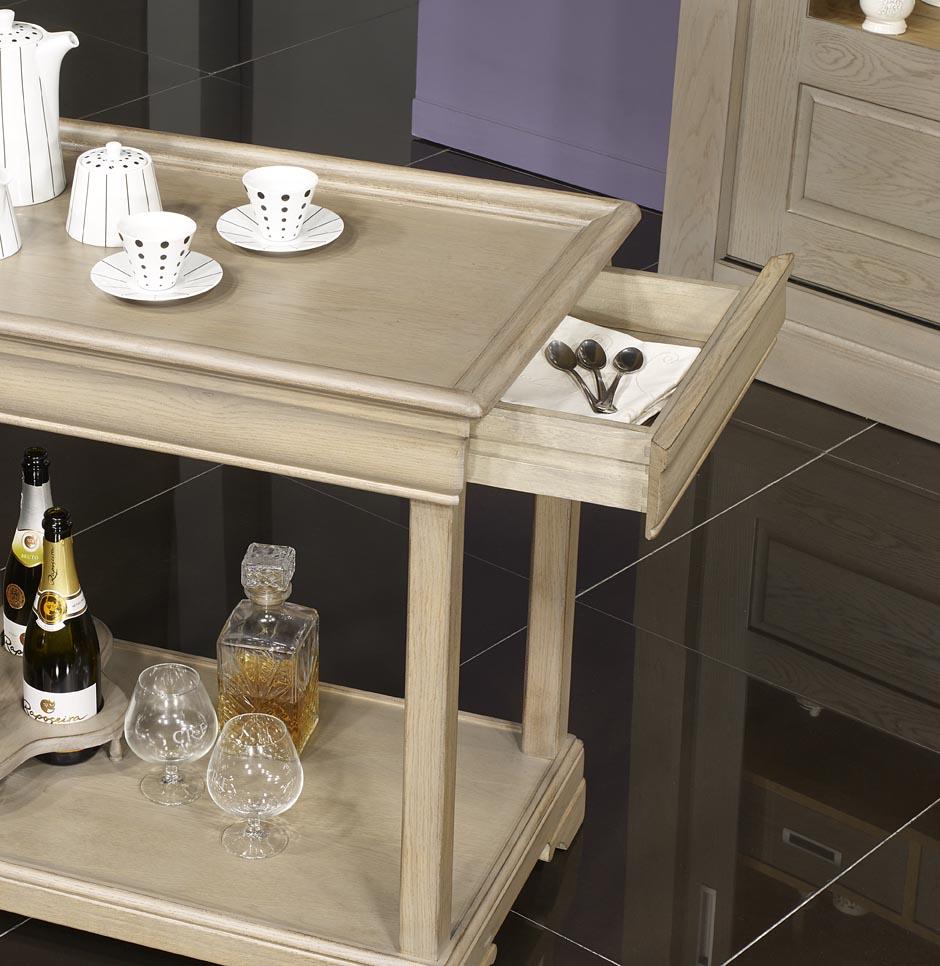 Table Desserte Roulante En Chene De Style Louis Philippe Avec 1