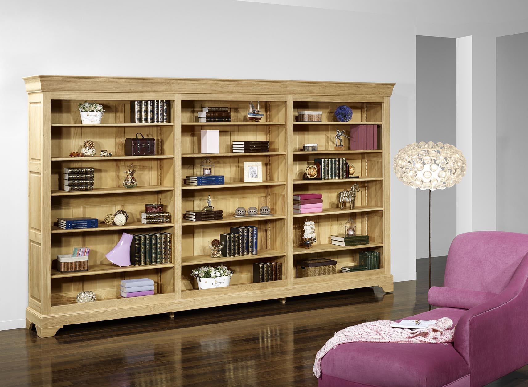 Biblioth Que En Ch Ne Massif De Style Louis Philippe Longueur 360  # Meuble Bibliotheque Design