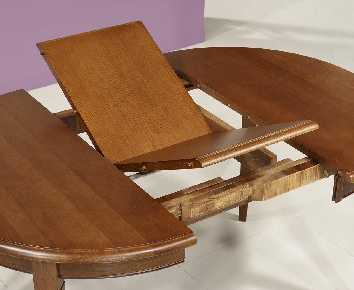table ronde 4 pieds en ch ne massif de style louis philippe diam tre 110 1 allonge. Black Bedroom Furniture Sets. Home Design Ideas