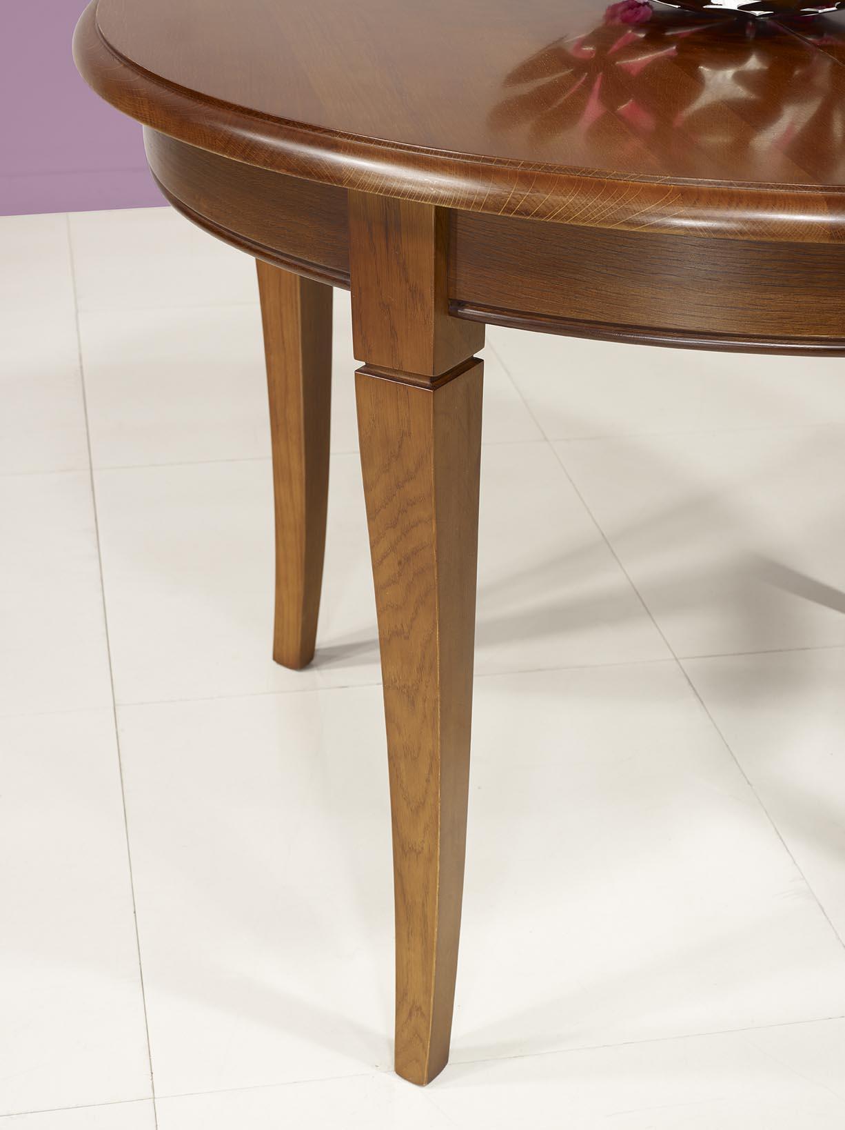 table ronde 4 pieds en ch ne massif de style louis philippe diam tre 100 1 allonge. Black Bedroom Furniture Sets. Home Design Ideas