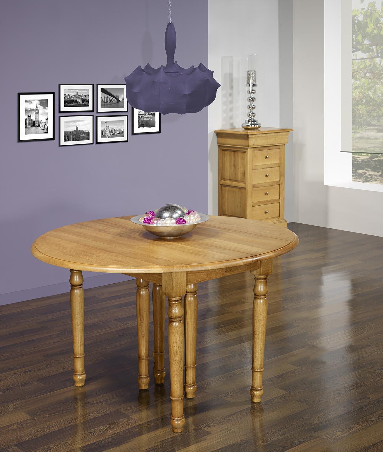 table ronde volets diametre 110 en ch ne massif de style louis philippe 6 allonges de 40 cm. Black Bedroom Furniture Sets. Home Design Ideas