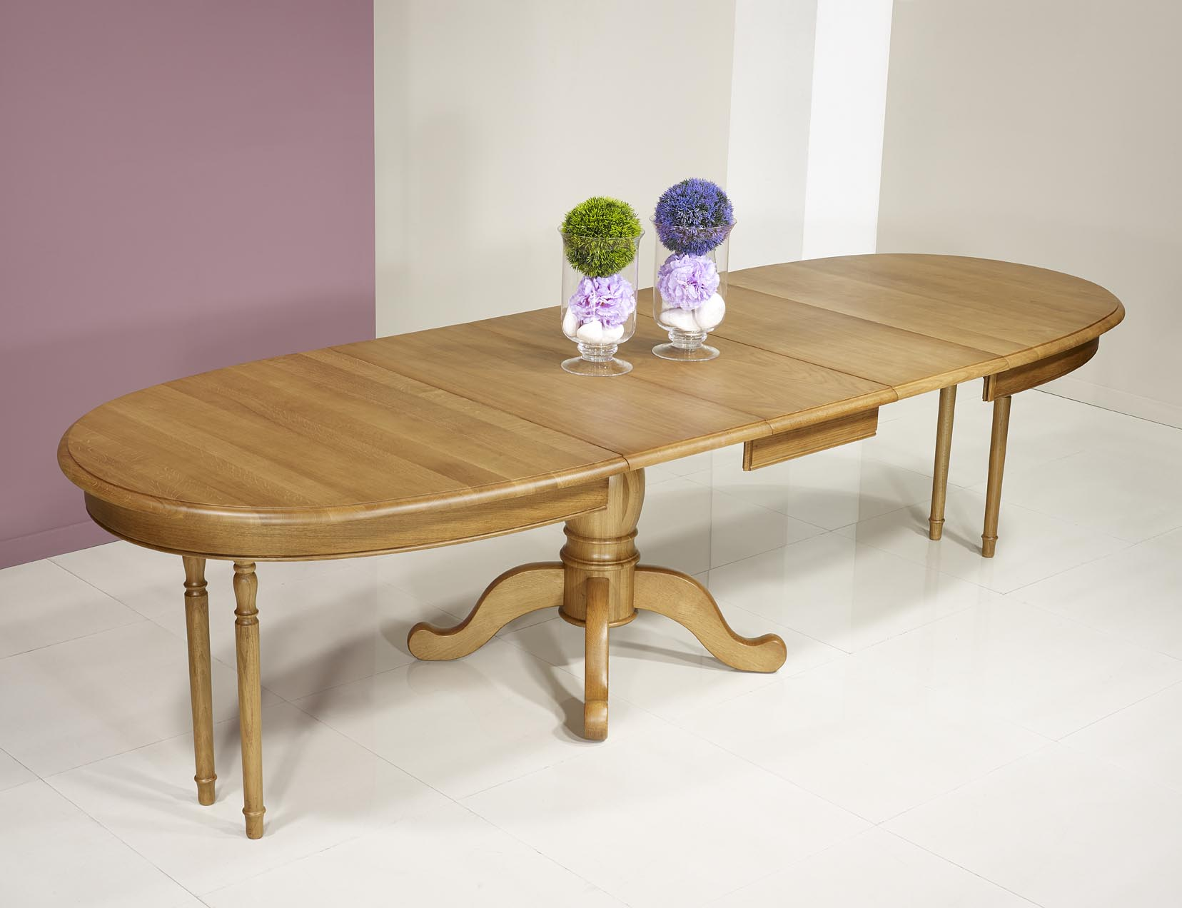 Table ovale 170x100 en ch ne massif de style louis for Table ovale allonge