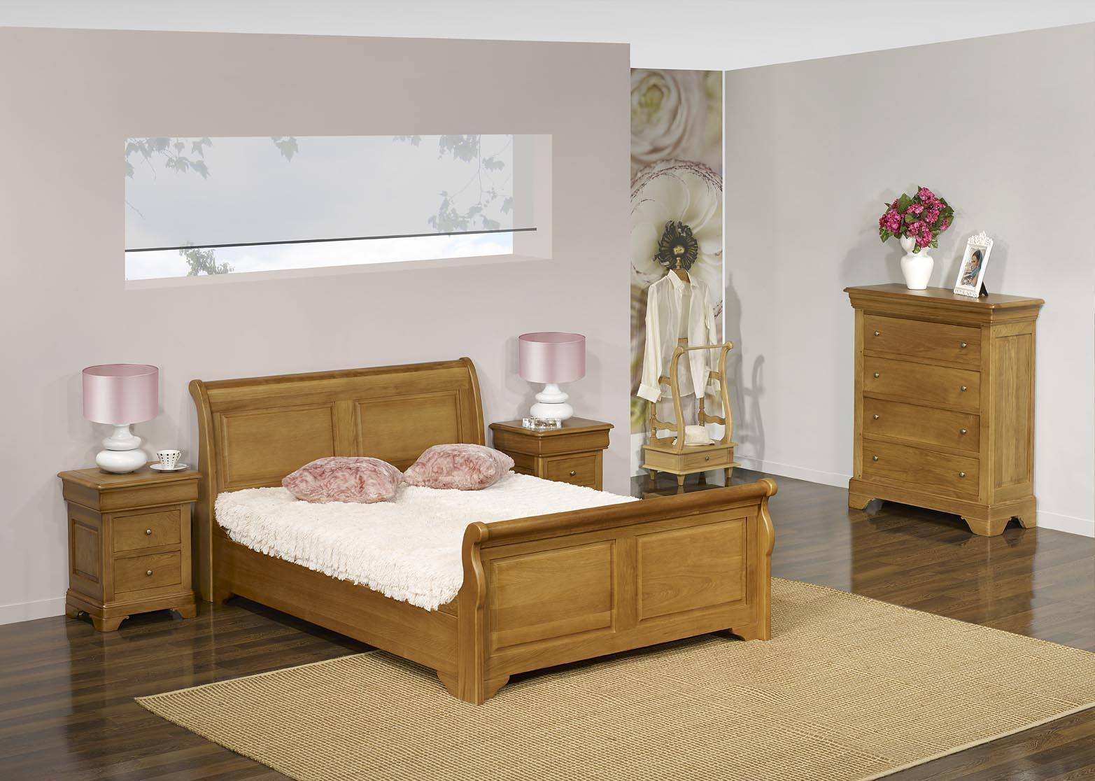 lit bateau 140x190 en ch ne massif de style louis philippe campagnard meuble en ch ne. Black Bedroom Furniture Sets. Home Design Ideas