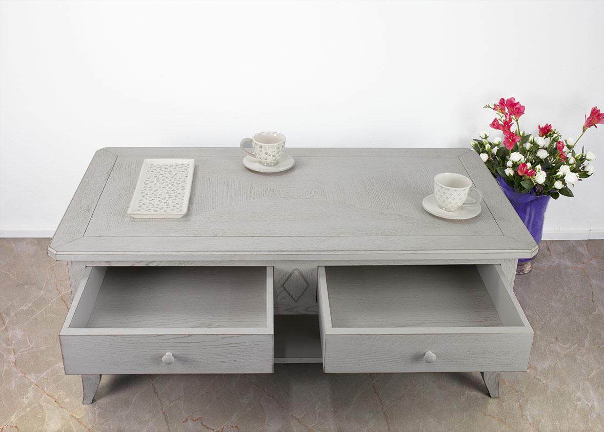table basse en ch ne de style louis philippe plateau marquette finition bross gris patin. Black Bedroom Furniture Sets. Home Design Ideas