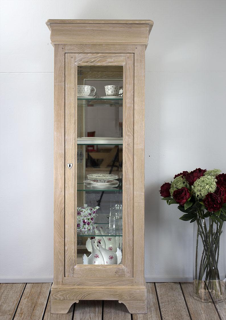 Argentier 1 porte 1 tiroir en ch ne massif de style louis for Petite armoire a tiroir