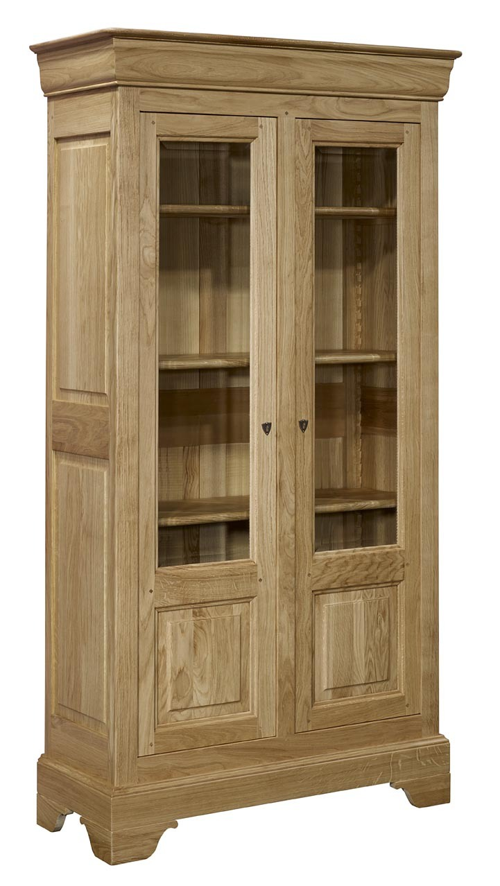 biblioth que 2 portes en ch ne massif de style louis philippe hauteur 199 cm meuble en ch ne. Black Bedroom Furniture Sets. Home Design Ideas