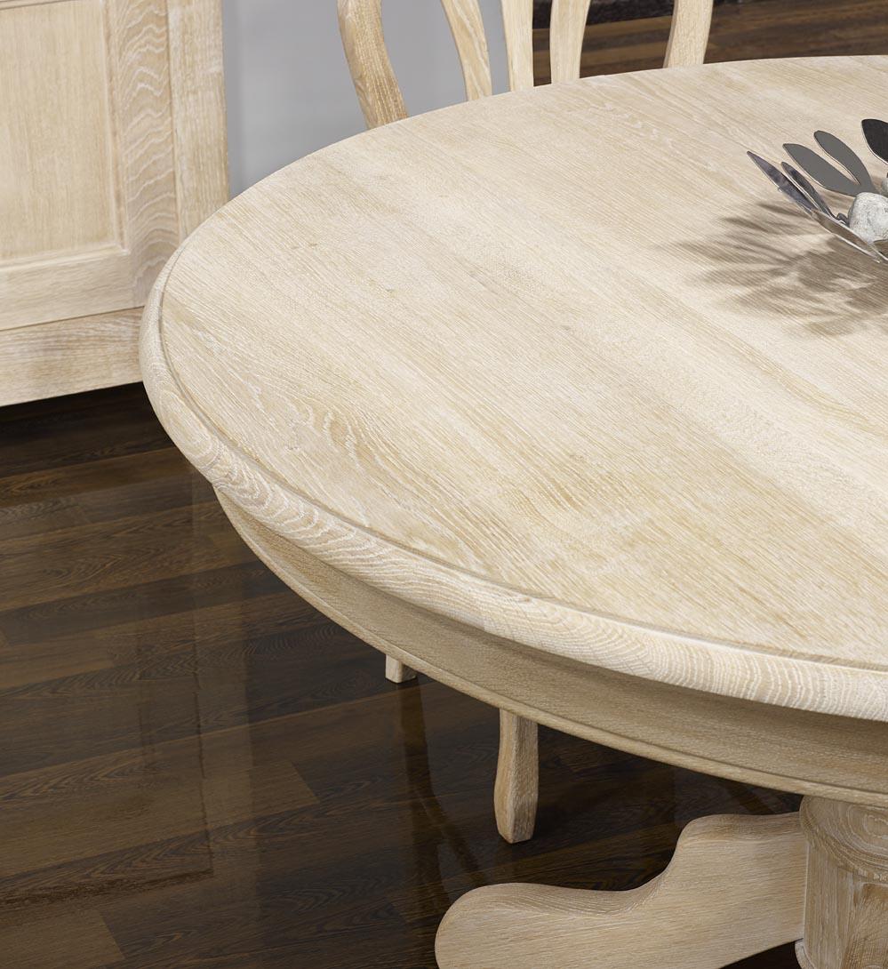 table ronde maude pieds central diametre 140 en ch ne massif de style louis philipe finition. Black Bedroom Furniture Sets. Home Design Ideas