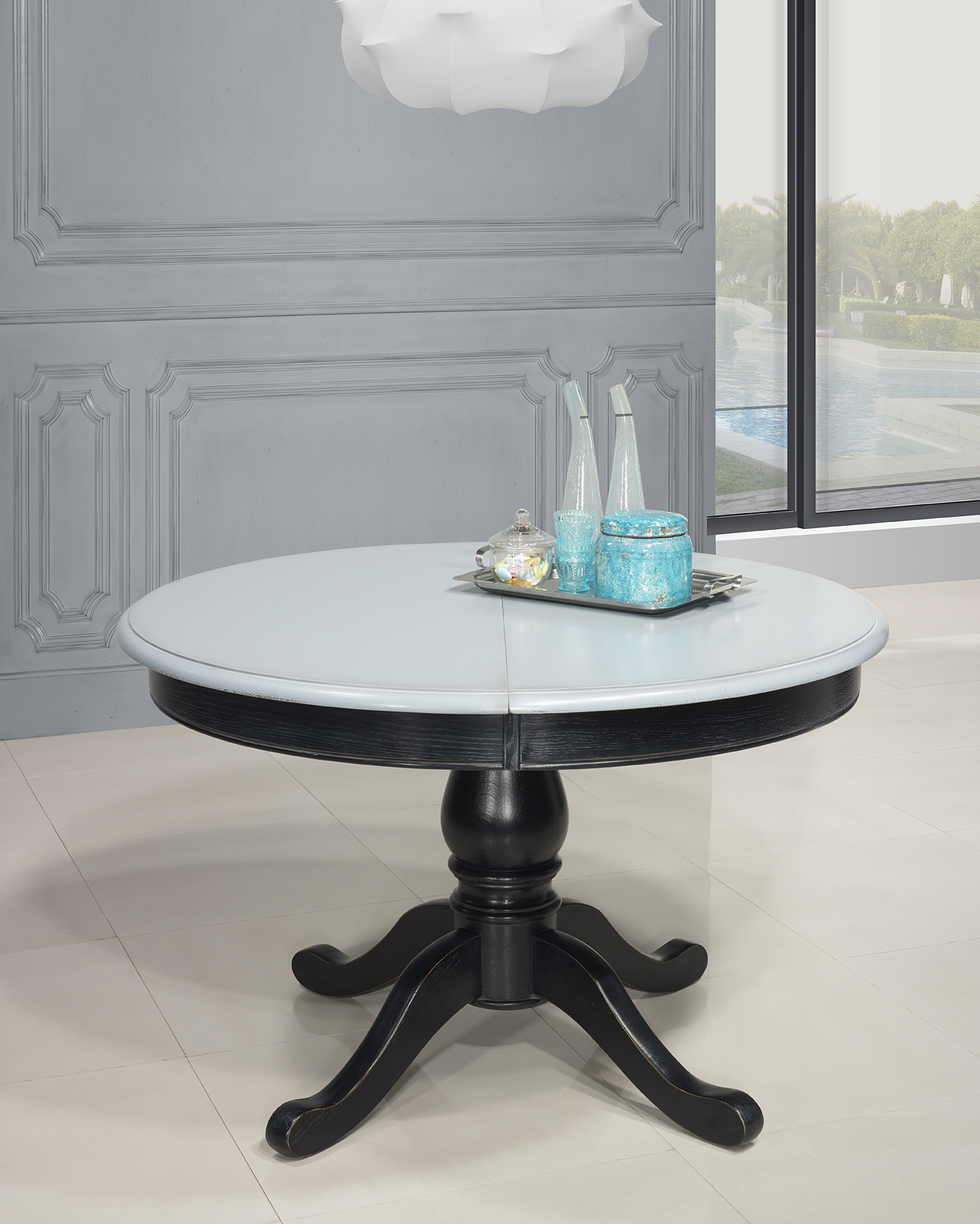 Table ronde pied central en ch ne massif de style louis philippe diametre 120 - Table basse pied central ...
