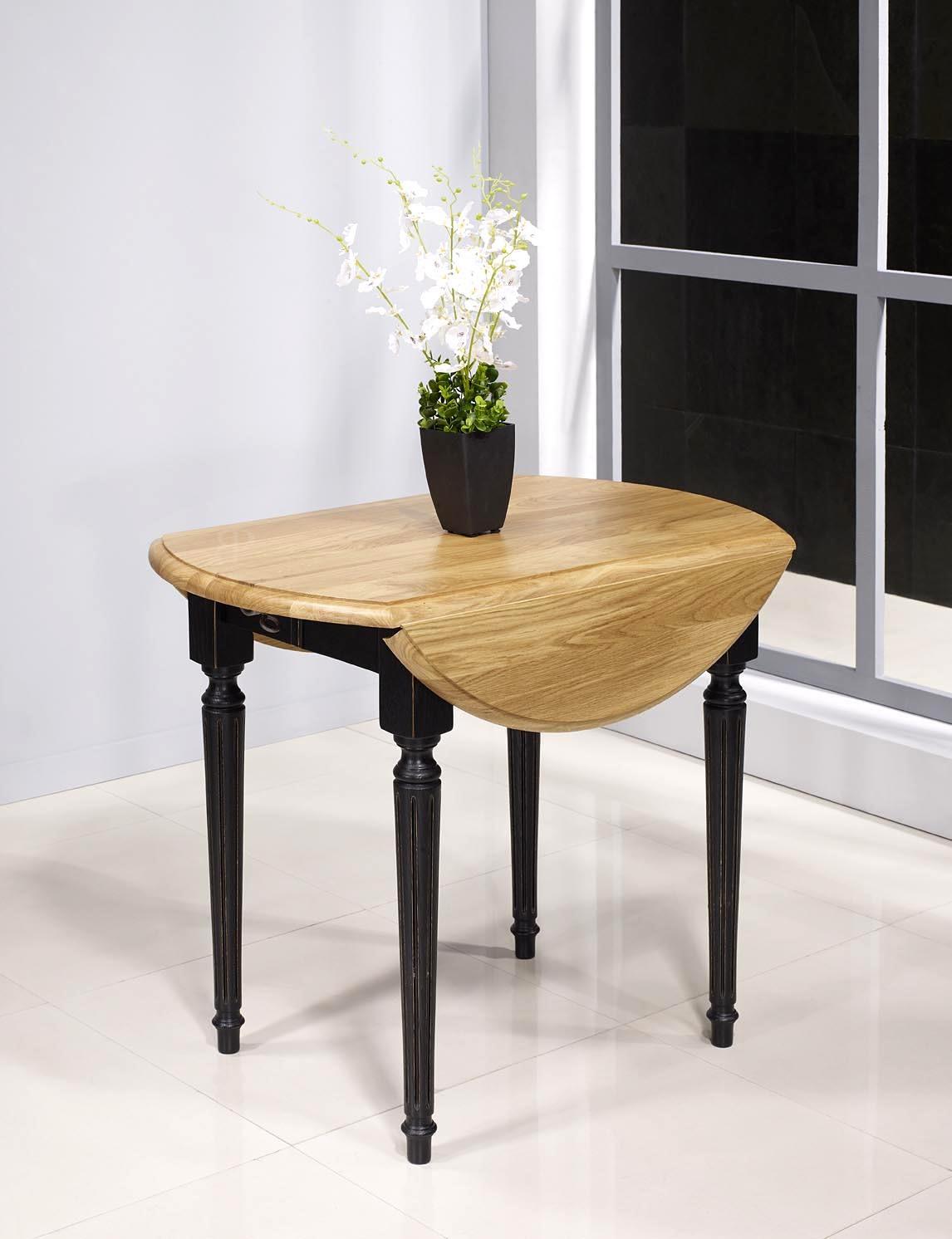 Table ronde volets diam tre 90 en ch ne massif de style for Table ronde chene massif avec allonges