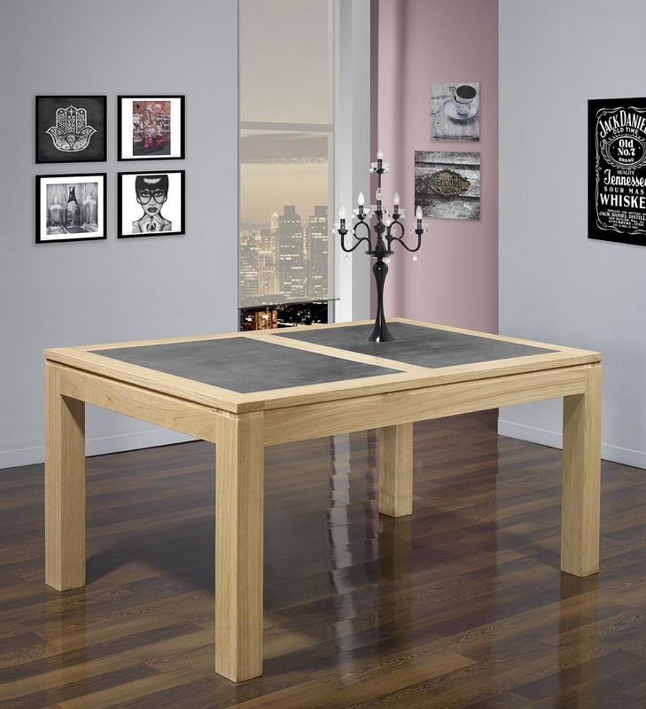 Table de repas rectangulaire 160x100 en ch ne ligne for Table en ceramique rectangulaire