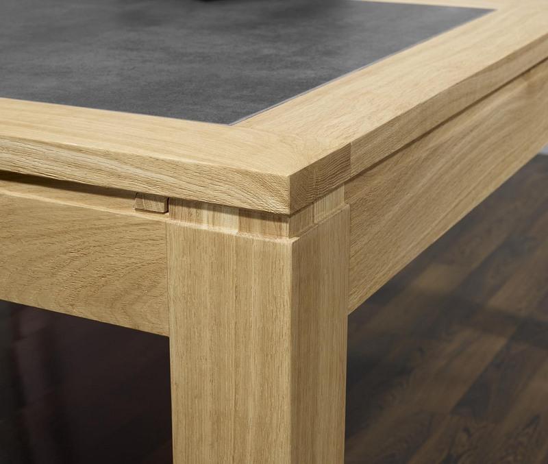 table de repas rectangulaire 160x100 en ch ne ligne contemporaine plateau avec c ramique. Black Bedroom Furniture Sets. Home Design Ideas