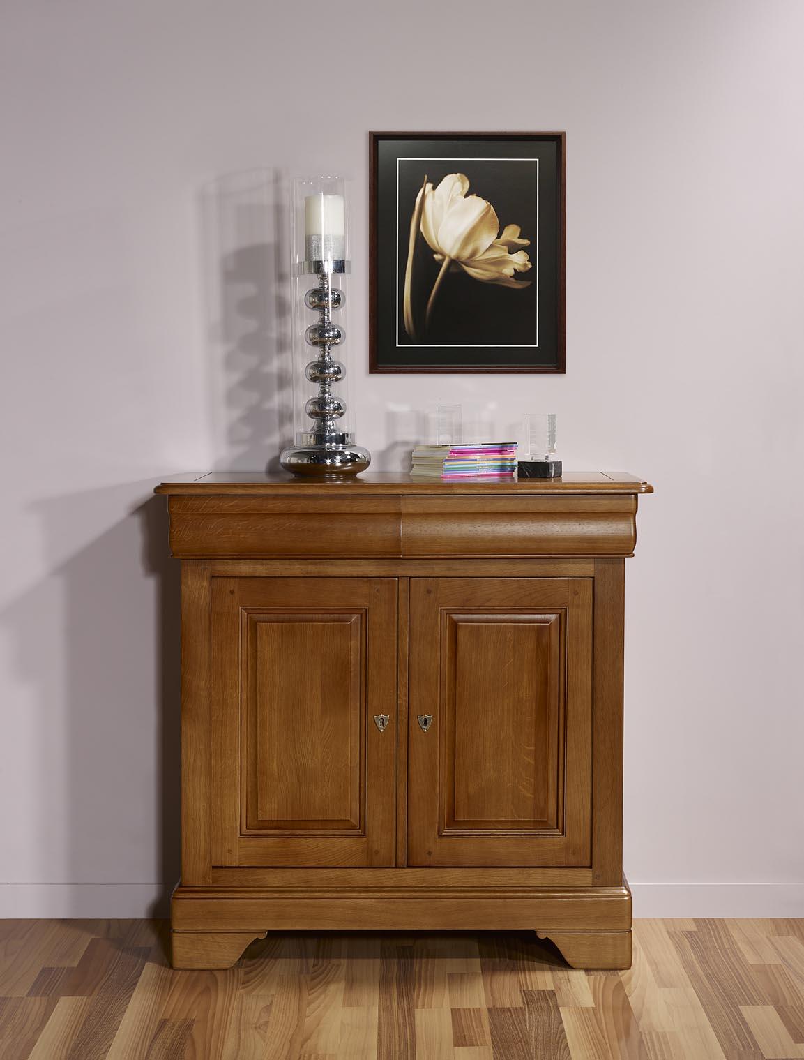 petit buffet 2 portes en ch ne massif de style louis philippe profondeur 52 cm meuble en ch ne. Black Bedroom Furniture Sets. Home Design Ideas