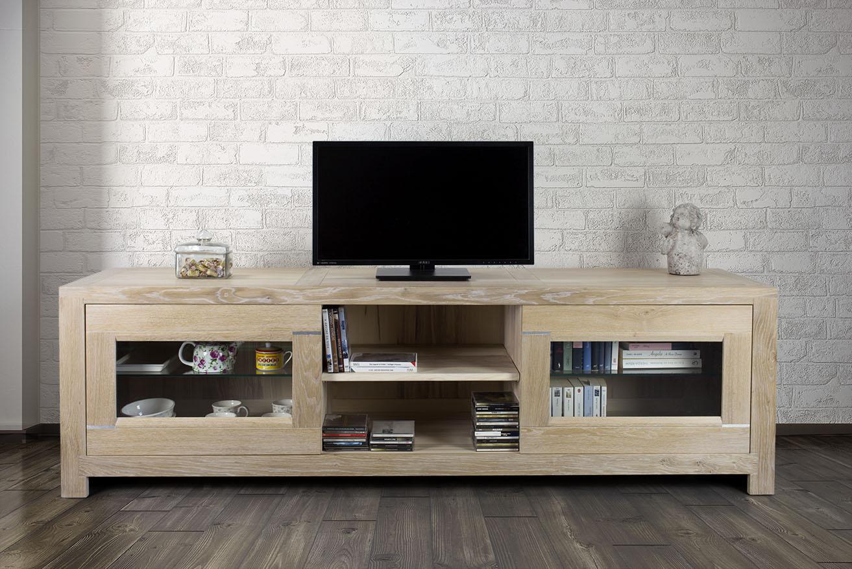 Meuble Tv 2 Portes Vitr Es En Ch Ne Massif De Style Contemporain  # Meuble Tv Chene Massif Contemporain