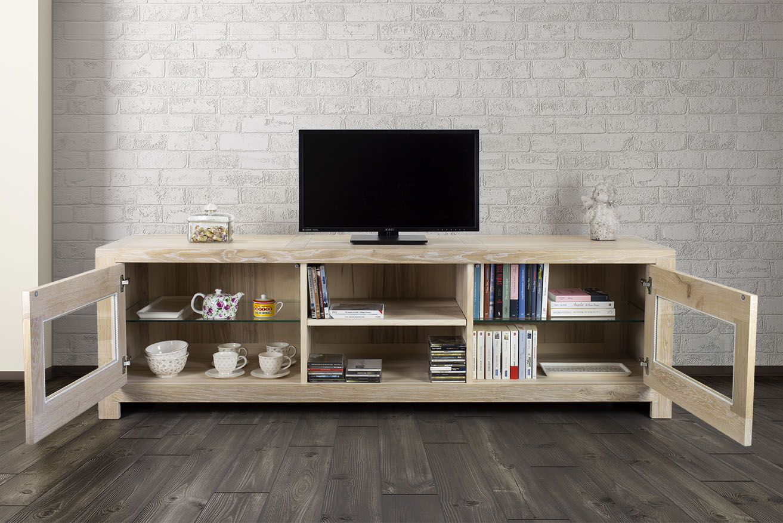 Meuble tv 2 portes vitr es en ch ne massif de style contemporain meuble en ch ne - Meuble tv avec porte vitree ...