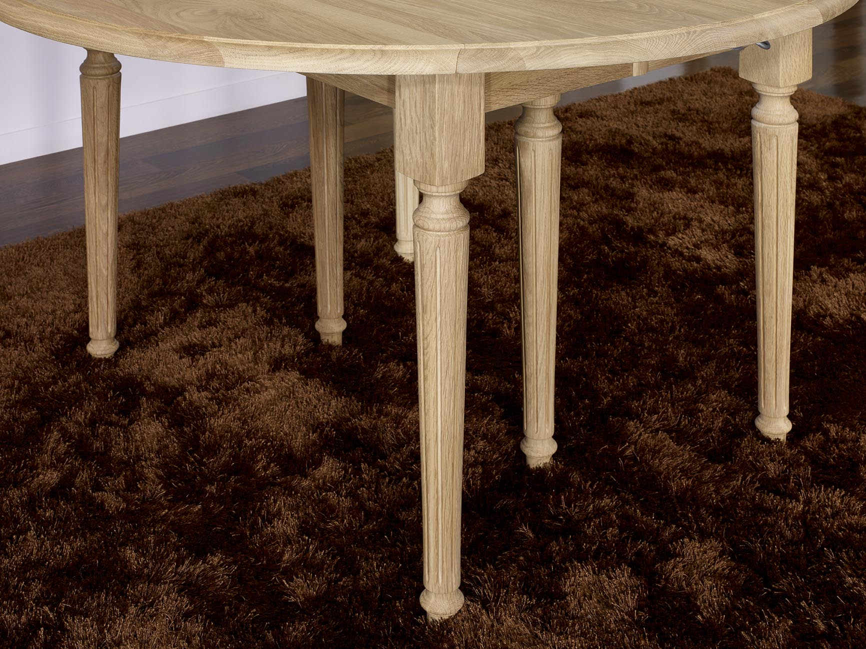 Table ronde volets en ch ne massif de style louis xvi for Table ronde chene massif avec allonges
