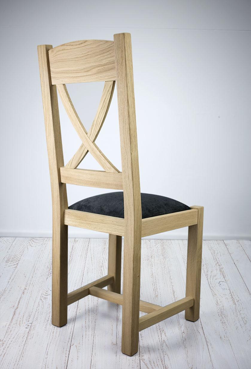 chaise en ch ne massif de style campagne assise tissu finition ch ne bross meuble en ch ne. Black Bedroom Furniture Sets. Home Design Ideas