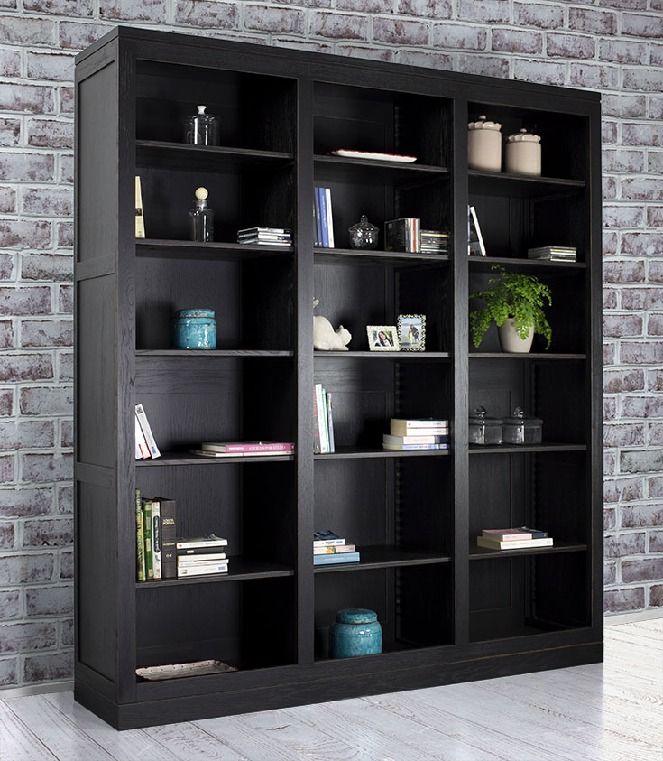 biblioth que contemporaine en ch ne massif compos e de 3 modules meuble en ch ne. Black Bedroom Furniture Sets. Home Design Ideas