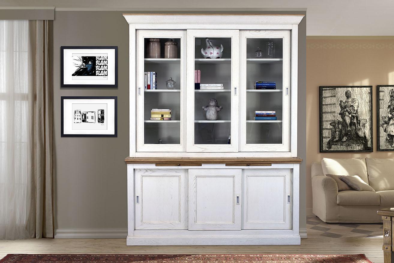 biblioth que 3 portes en ch ne massif de style directoire portes coulissantes meuble en ch ne. Black Bedroom Furniture Sets. Home Design Ideas
