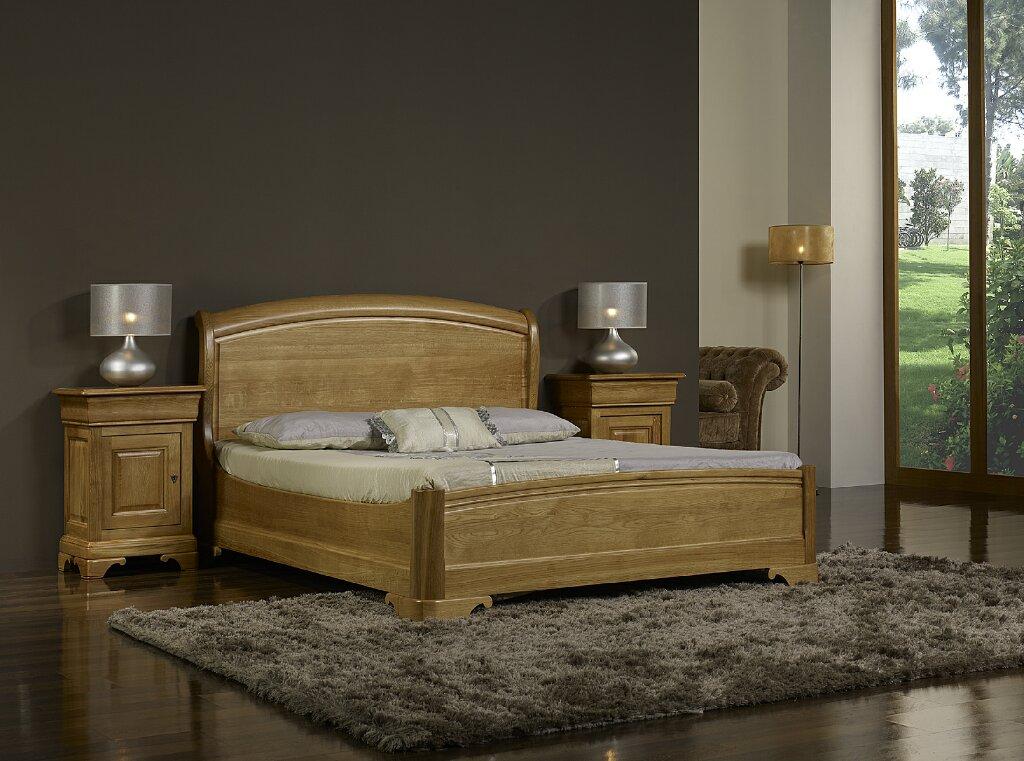 lit 160x200 en ch ne massif de style louis philippe finition ch ne cir meuble en ch ne. Black Bedroom Furniture Sets. Home Design Ideas