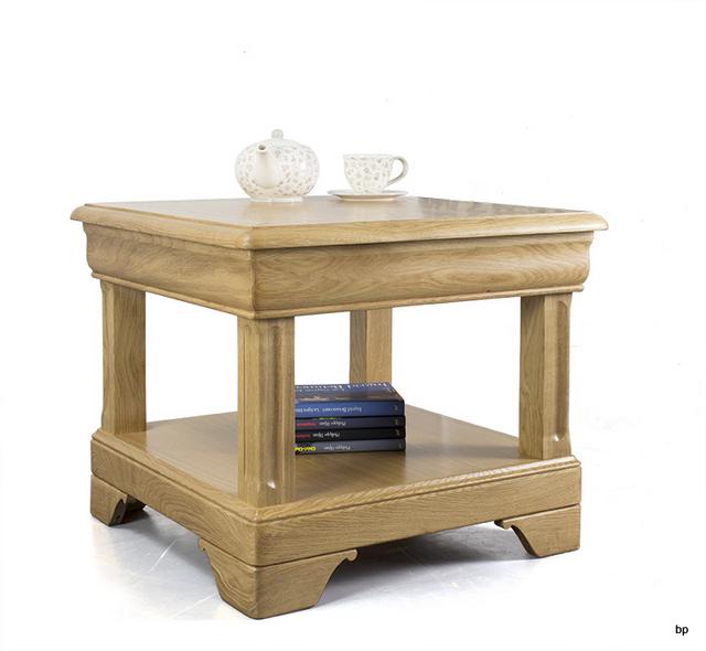 petite table basse ines en ch ne de style louis philippe 1 tiroir meuble en ch ne. Black Bedroom Furniture Sets. Home Design Ideas