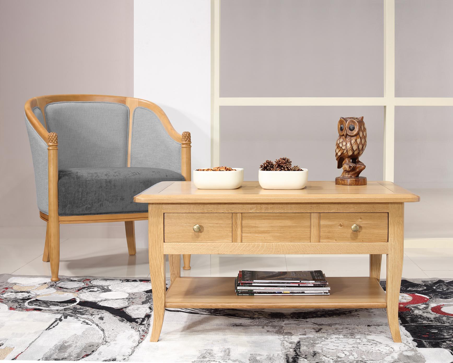 Table Basse Rectangulaire Alexandre En Chene De Style Louis
