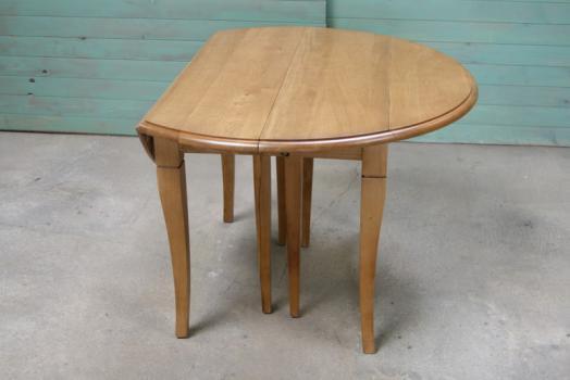 table ronde à volets diametre 110 en chêne massif de style louis
