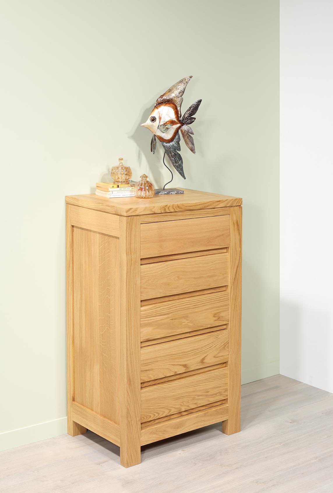 Commode Petite Profondeur 30 Cm petite commode 5 tiroirs collection nature en chêne massif