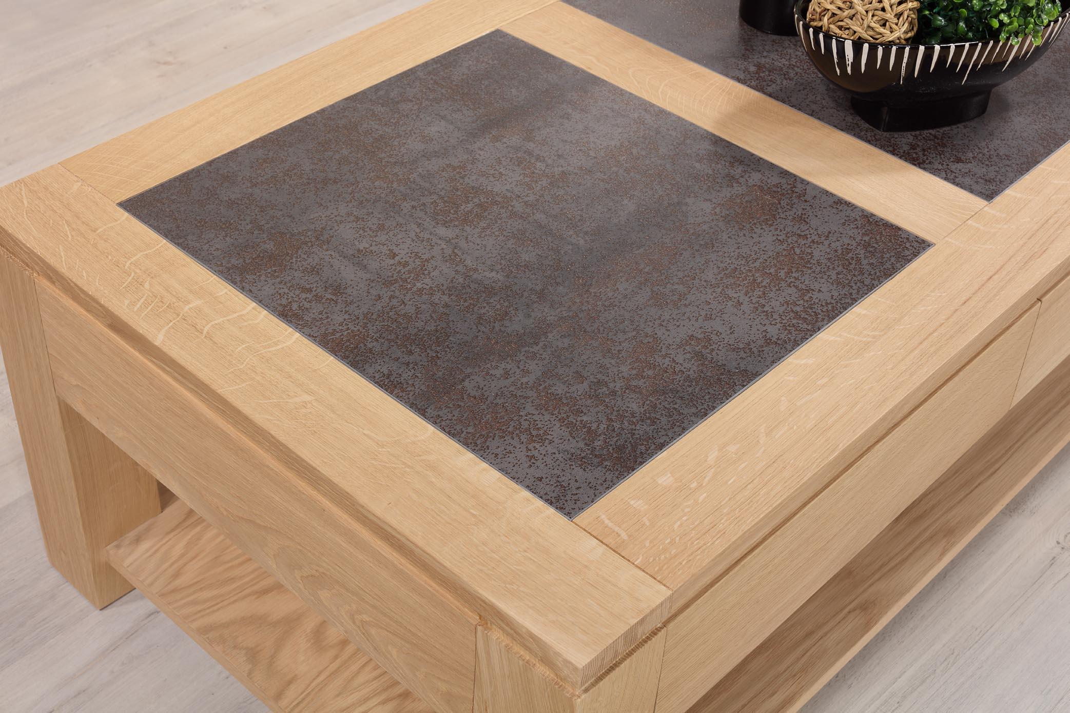 nouveaux styles 7695a 9575e Table basse plateau céramique en Chêne Massif Ligne ...